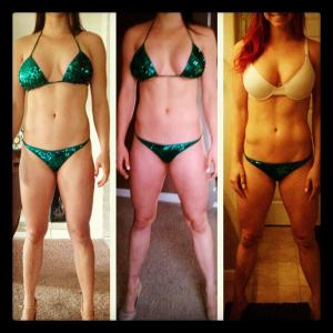 Jessica James, Bikini Competitor, shows her one month progress... from gains to lean mass!